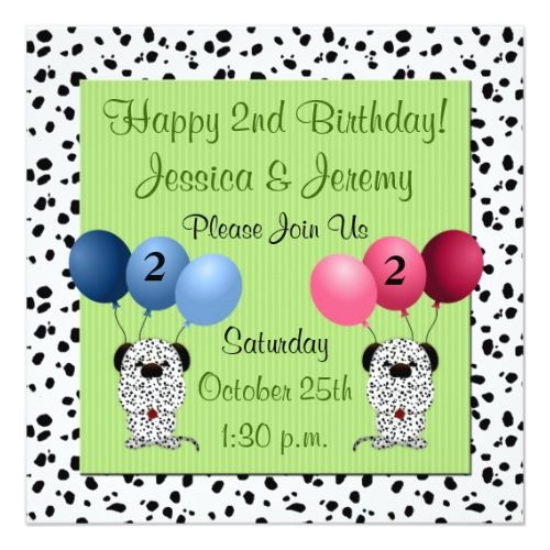 Twins Birthday Party Invitations 2nd Invitation Green