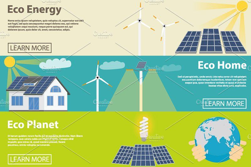 Eco Energy Horizontal Banner Set Solar Energy Diy Energy Adobe Illustrator Vector