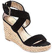 Black wedge sandal - espadrille style $35