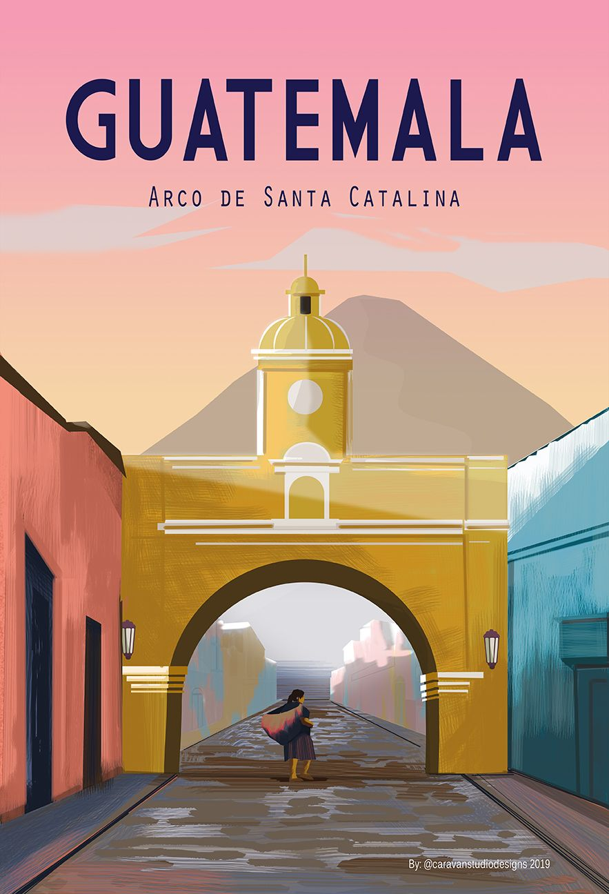 Guatemala Travel Poster Antigua Guatemala Wall Decor Sizes Etsy In 2021 Travel Posters Retro Travel Poster Guatemala Travel