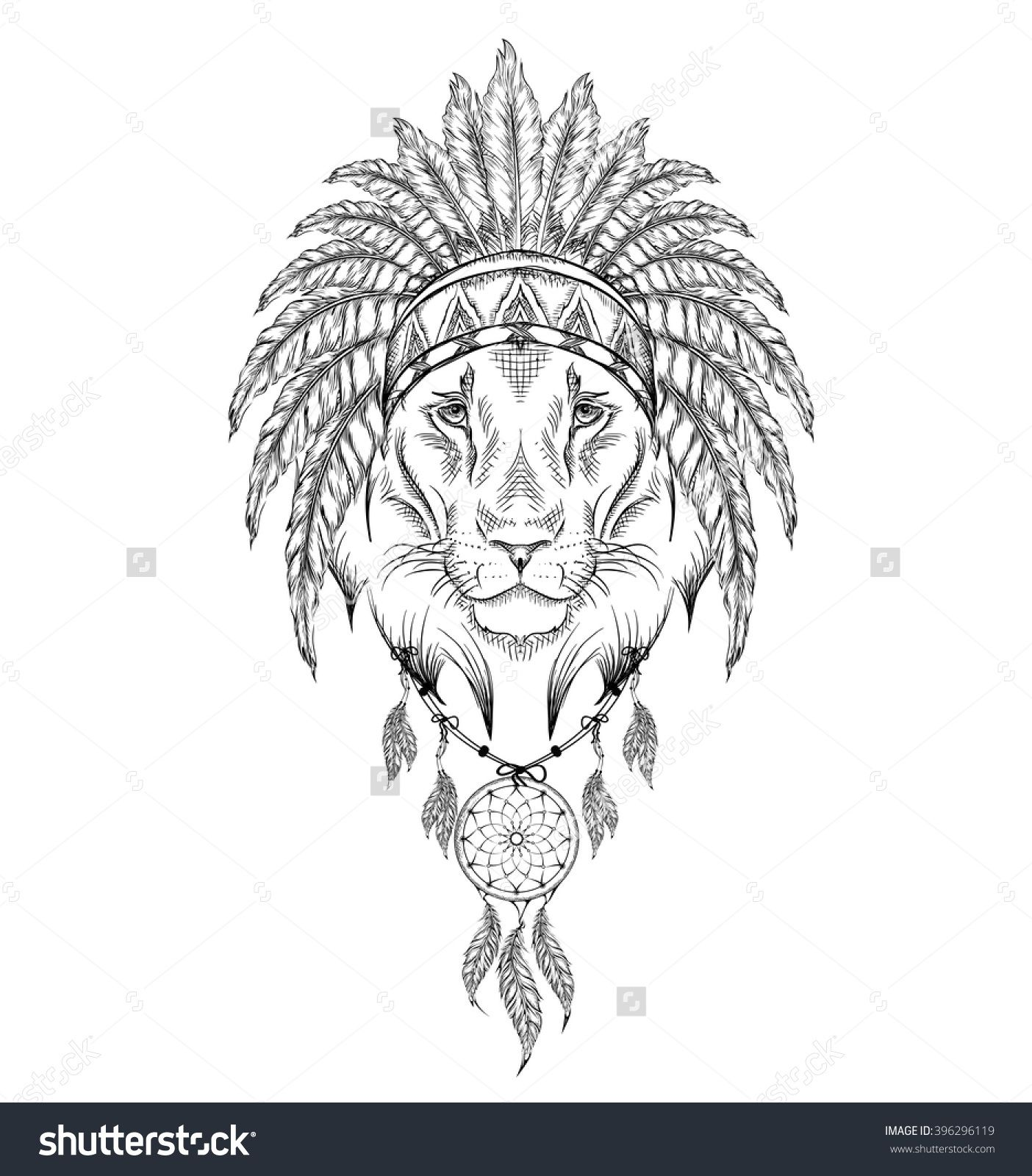 Lion In The Indian Roach. Indian Feather Headdress Of