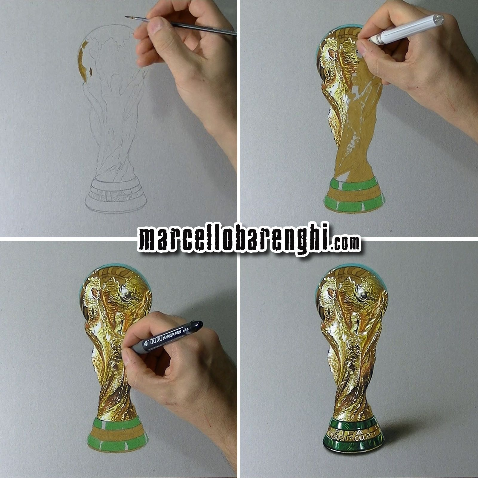 Marcello Barenghi Fifa World Cup Trophy Drawing Phases World Cup Trophy Fifa World Cup Drawings