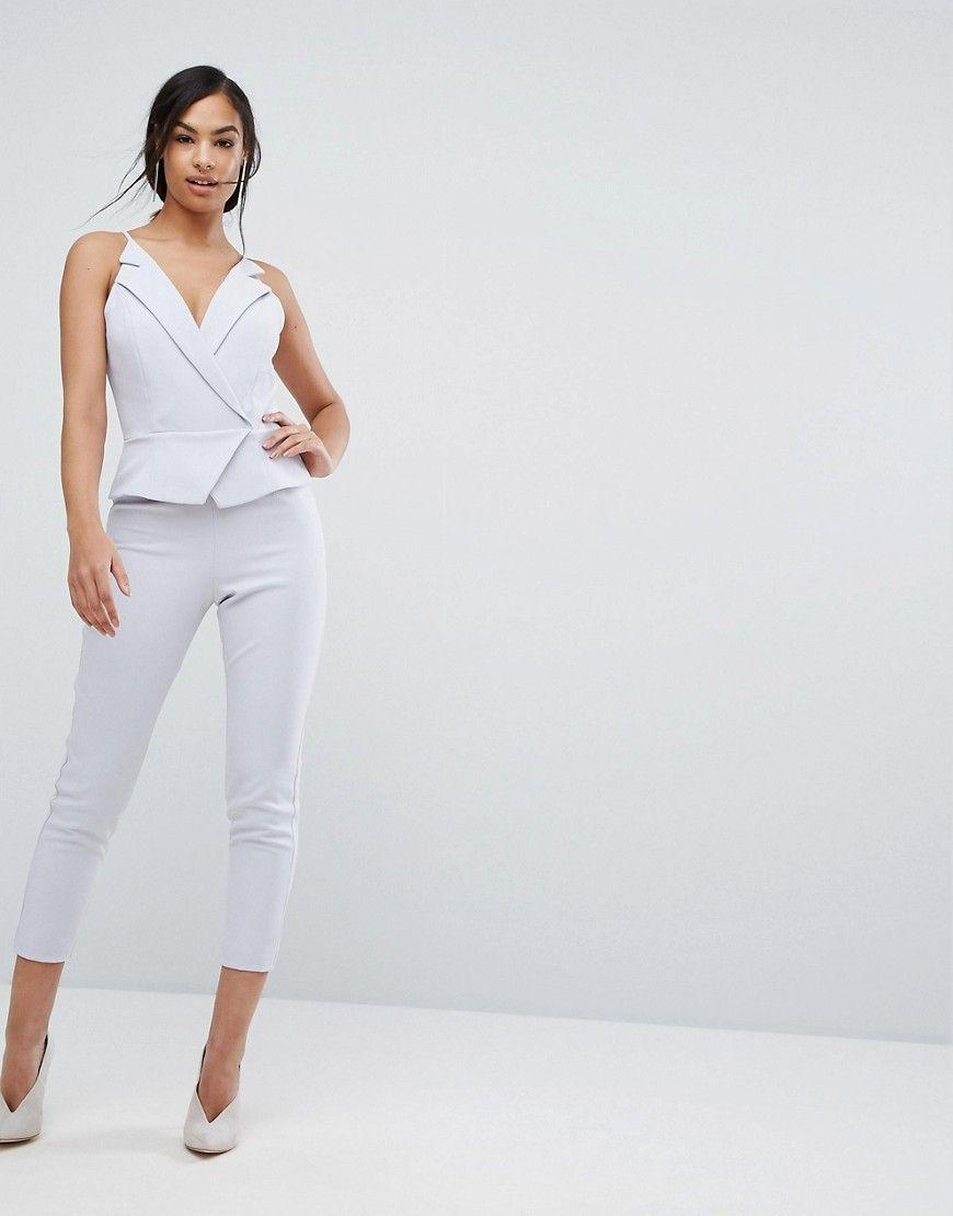 2d06dfa96a Lavish Alice Cami Vest Cropped Leg Jumpsuit - Gray