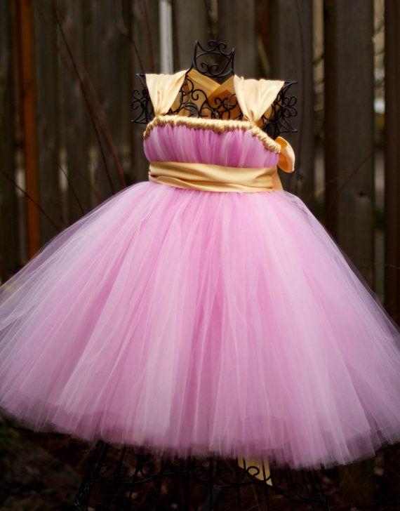 f15363f6c Vestido rosa-dorado para ceremonia Disfraces De Princesas