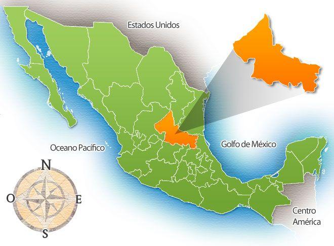 Map San Luis Potosi Mexico Estado De San Luis Potosi San Luis