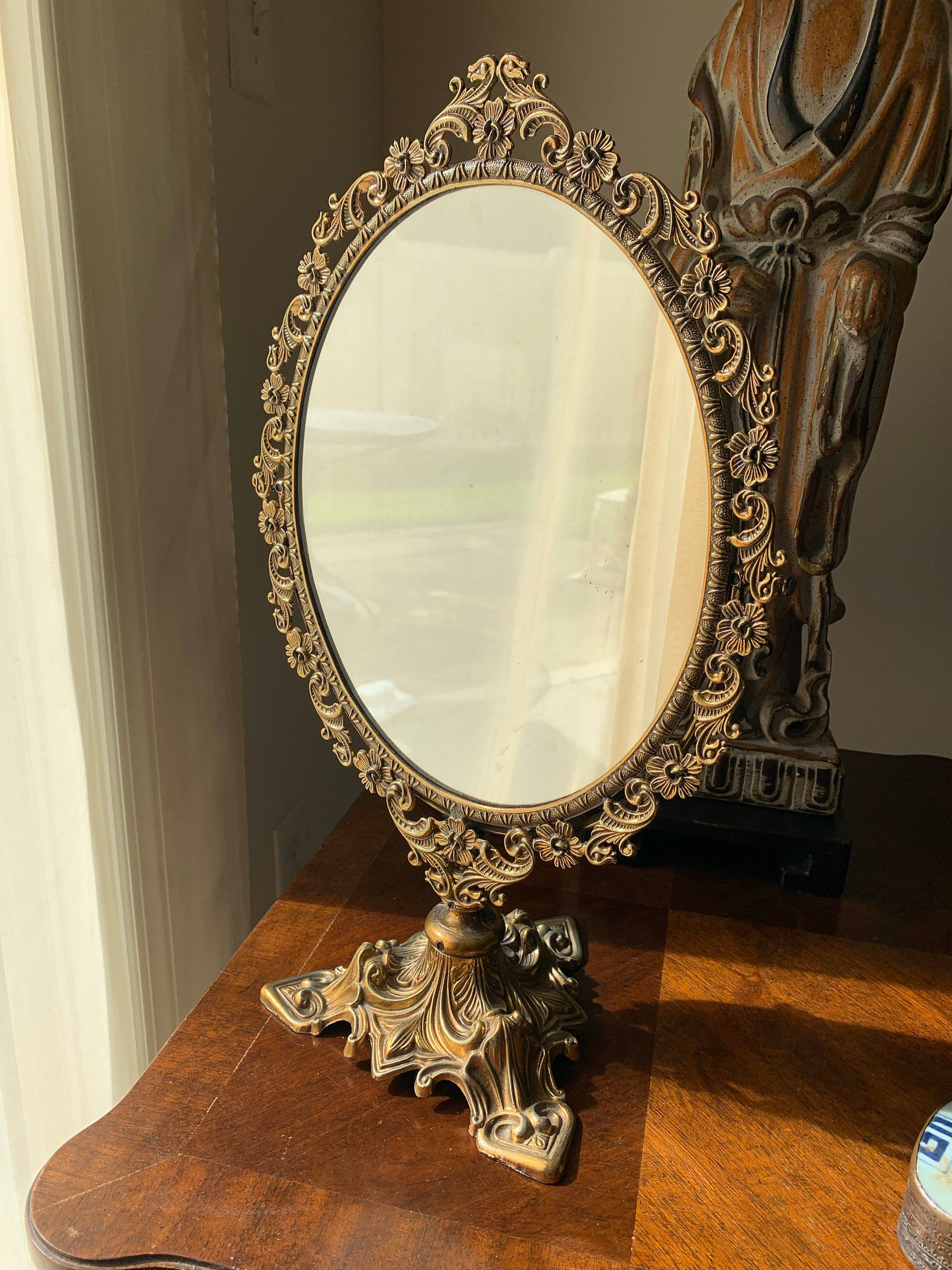 Vintage Florentia Brass Swing Out Vanity Mirror Italy Etsy Victorian Mirrors
