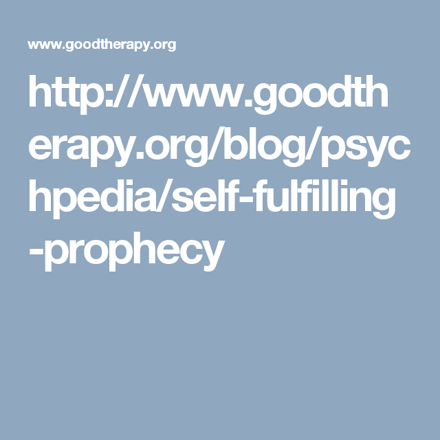 Self Fulfilling Prophecy Thoughts