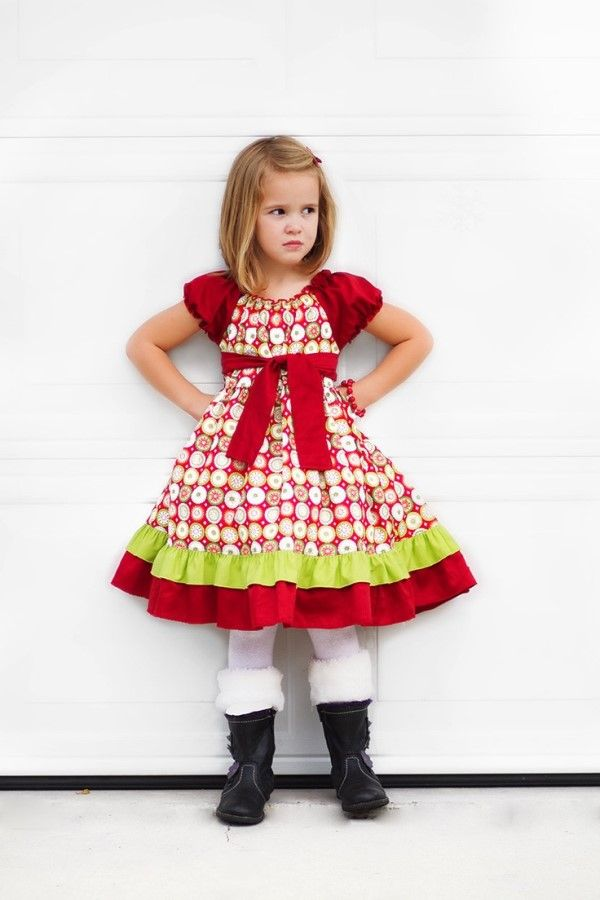 red with front bow christmas dresses