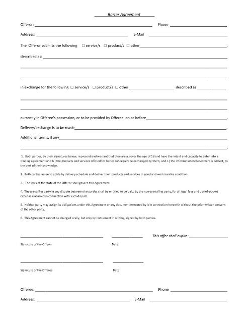 A Sample Barter Agreement Things Worth Knowing Pinterest Archery - blank contract forms