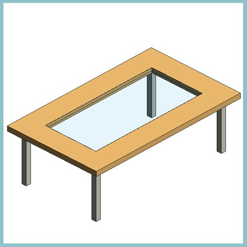 Rectangle Coffee Dining Table With Center Panel Autodesk Revit