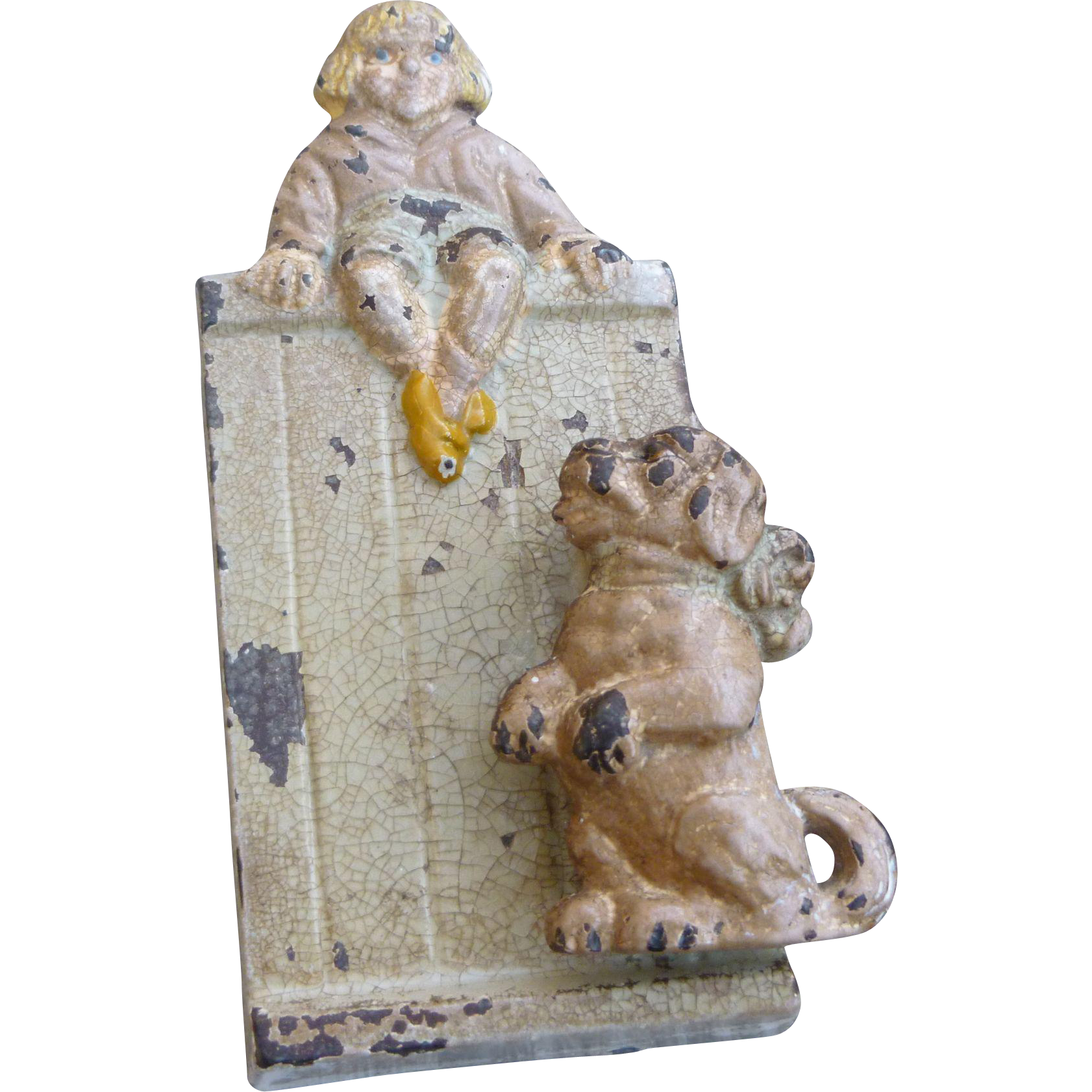 Cast iron door stoppers knockers nautical accents nautical decor - Rare Buster Brown And Tige Hubley Cast Iron Door Knocker