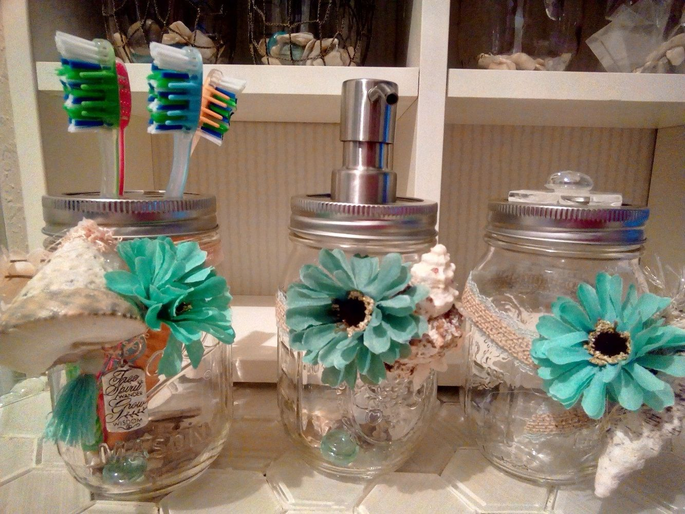 S great mason jar ideas you have to try coastal bathroom