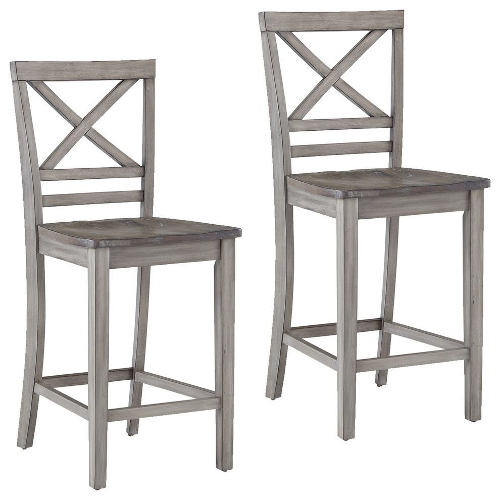 Fairhaven Gray Distressed Counter Height Barstools Set Of 2 Farmhouse Bar Stools And Counter St In 2020 Counter Height Chairs Counter Height Bar Stools Bar Stools
