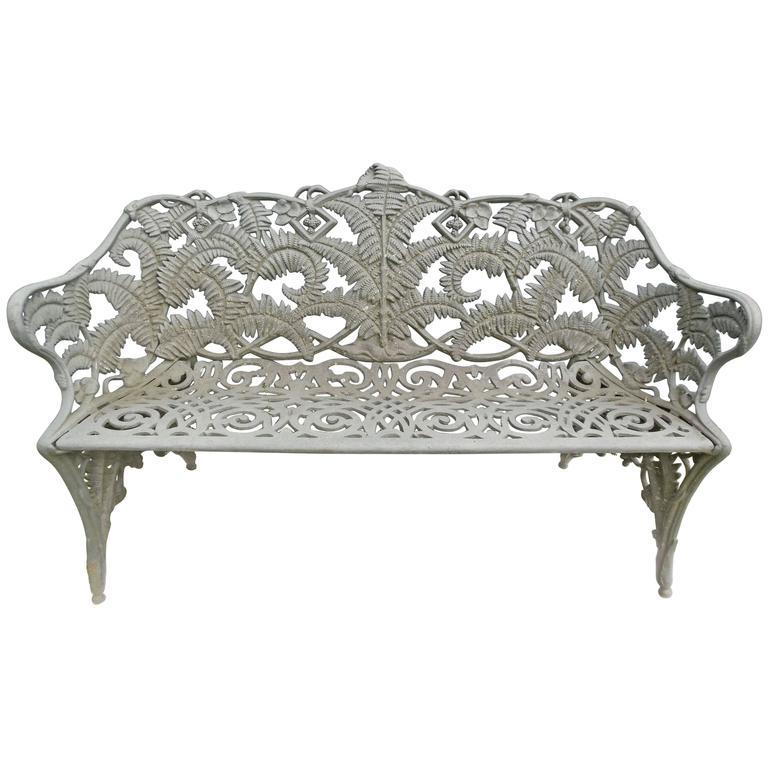 Circa 1920 Garden Bench Fern Pattern Antique Cast Iron From A