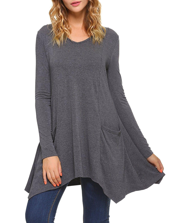 Women V-Neck Long Sleeve Asymmetric Hem Tunic Tops With Pockets - Dark Grey  - CM186W4QWEM   Asymmetrical hem tunic, Tunic tops, Clothes for women