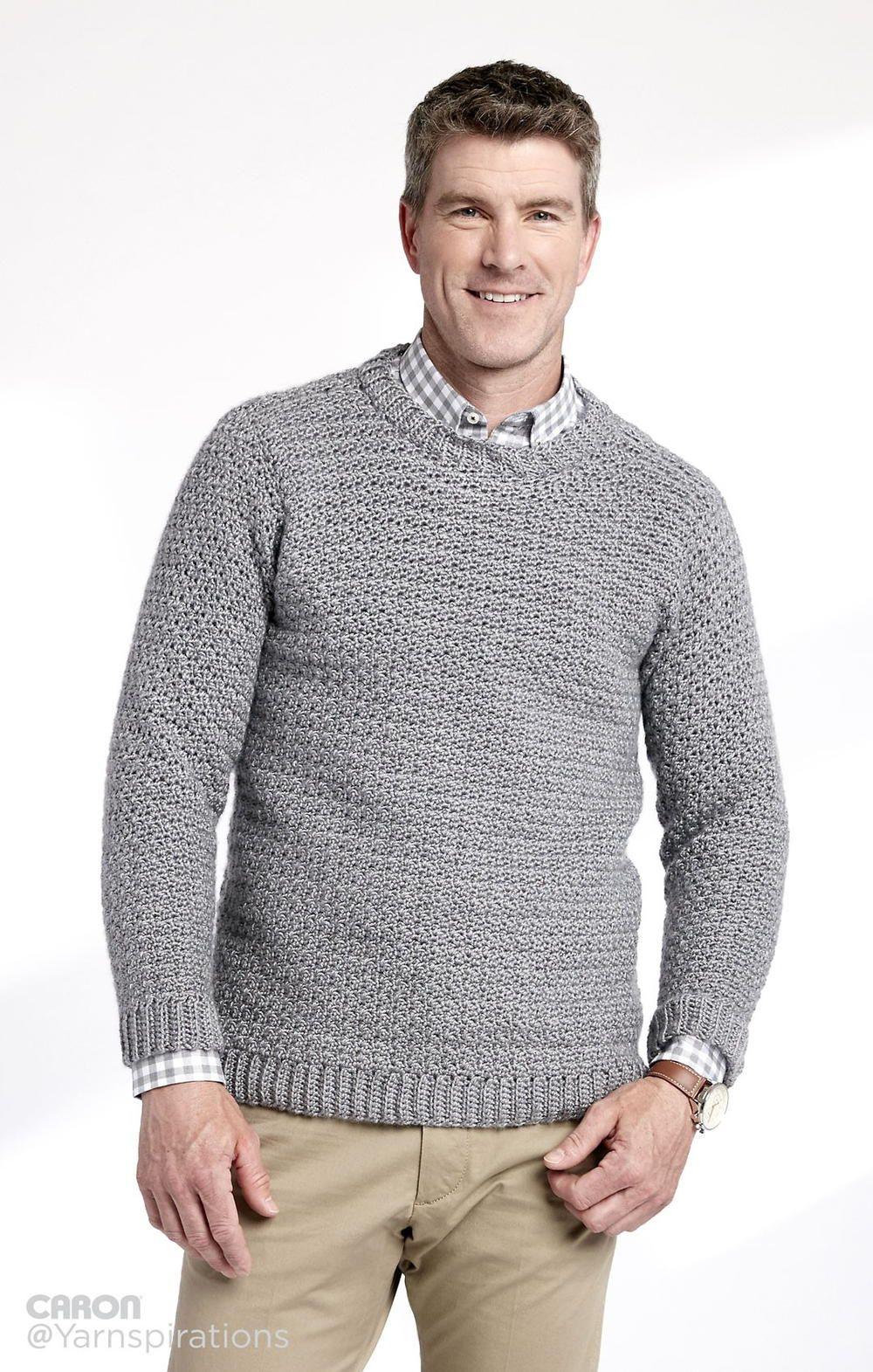 Adult Crochet Crew Neck Pullover | Pinterest | Sueter hombre ...