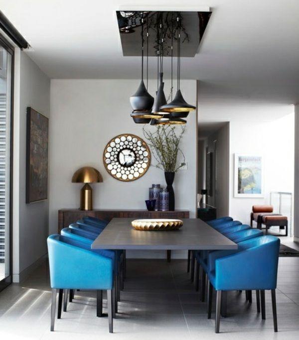 Wohnideen Esszimmer retro Einrichtung blaue Sthle Wand