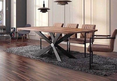 Large Georgio Modern Chic Rustic Metal Wood Dining Table 8 10 12