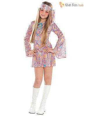 Womens Disco Diva 70s Hippy /& Hippie Festival Fancy Dress Costume