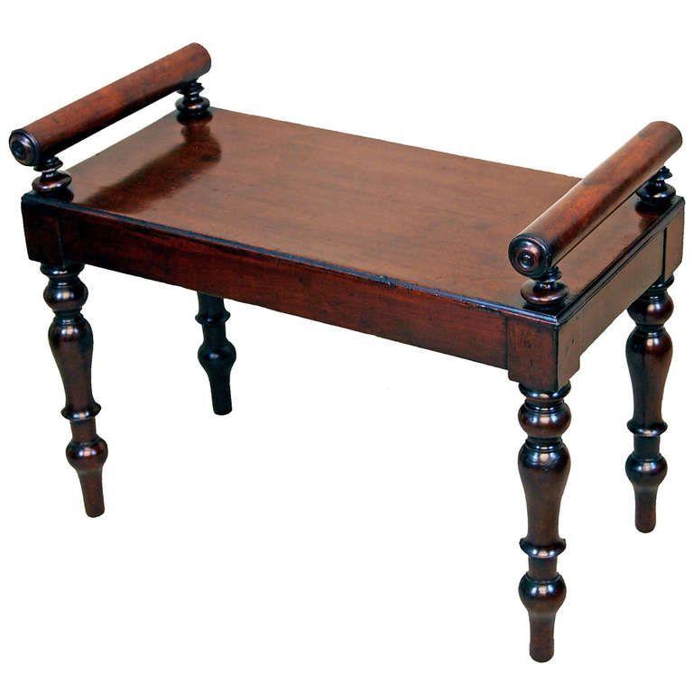 Antique Regency Mahogany Window Seat Hall Bench Window Seat Teak Wood Furniture Hall Bench