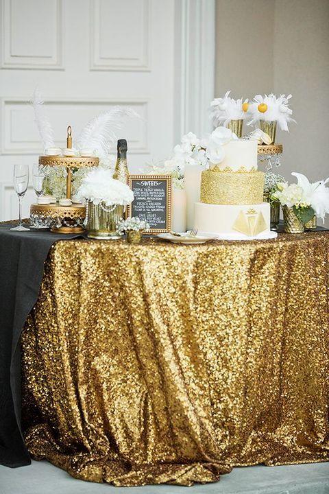 Gold-Glitzer Tischdecke -> für Buffet, Bars oder Stehtische