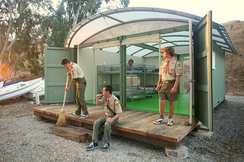 Repurposed shipping container cabins for a boy scout campground on