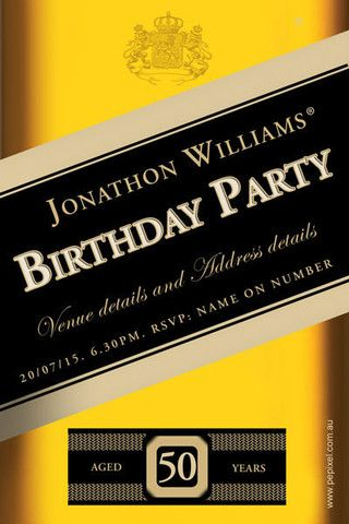 Johnnie walker digital printable birthday invitation template 21st birthday invitations 30th birthday invitations 40th birthday invitations 50th birthday invitations stopboris Images