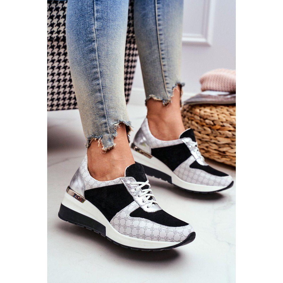 Obuwie Sportowe Sneakersy Damskie Skorzane Nicole 2468 Besty Biale Czarne Hummel Sneaker Shoes New Balance Sneaker