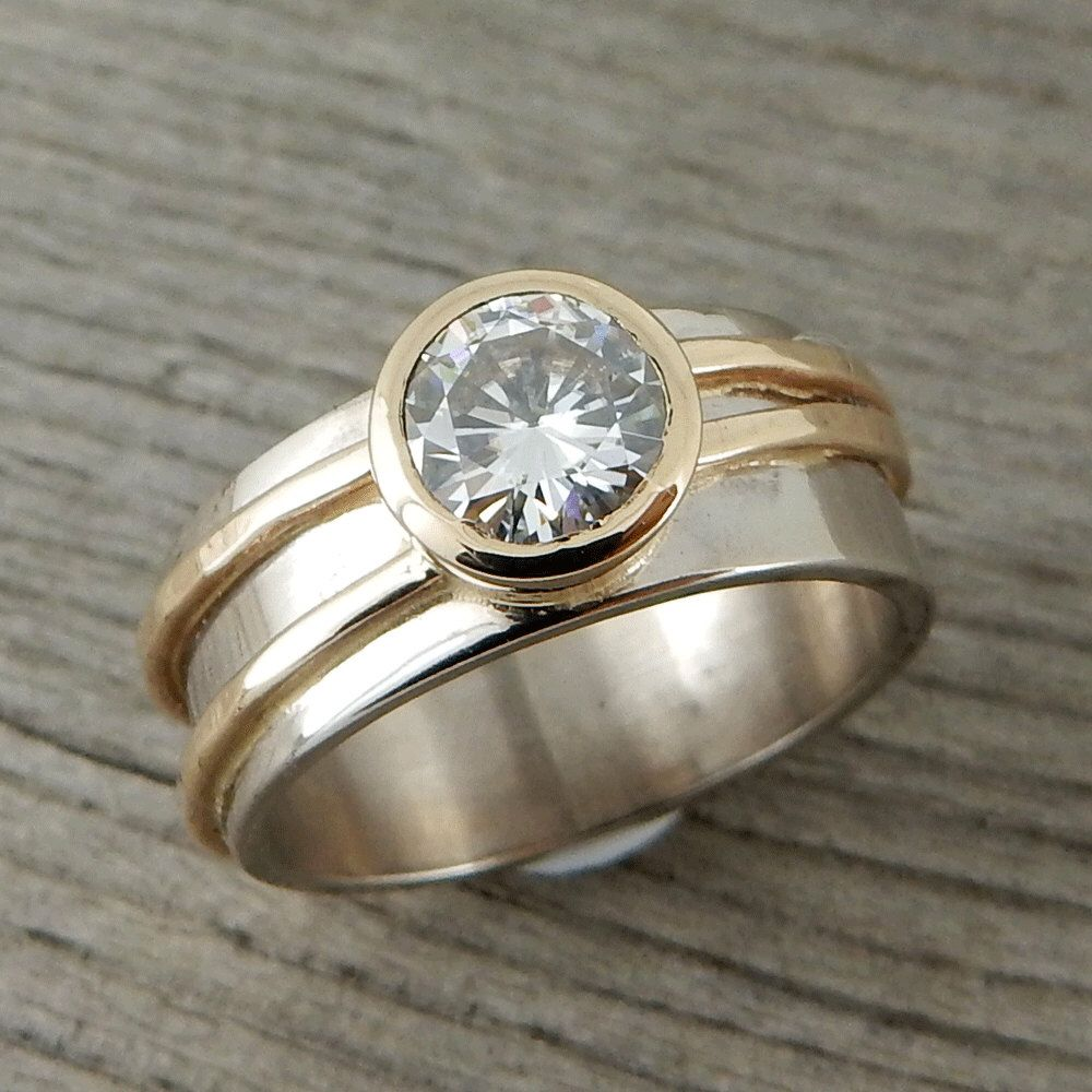 Moissanite engagement ring forever one ghi two tone