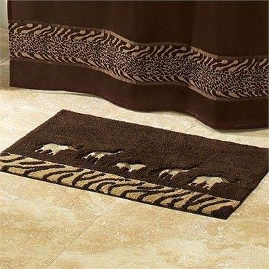 animal parade bath rug | safari decorations, animal print