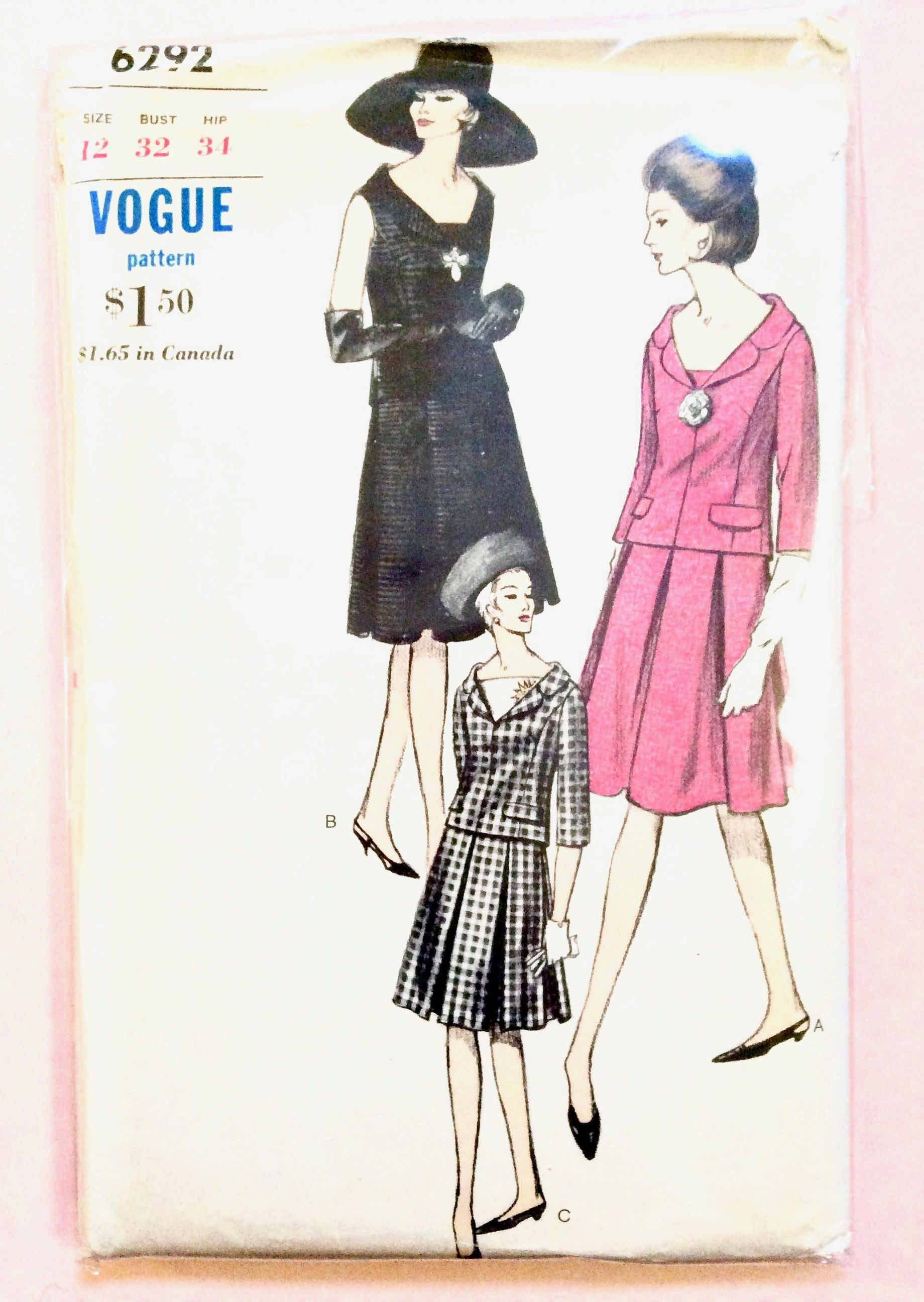 Vogue 6292 Two Piece Dress Overblouse Self Contrast Dickey Etsy Trendy Sewing Patterns Sewing Tutorials Clothes Skirt Patterns Sewing
