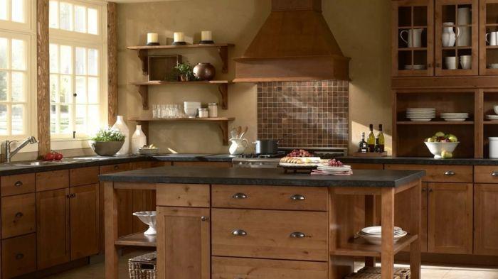 Gut Wohnideen Küche Braune Wandfarbe Und Braune Küchenmöbel