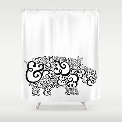 Ampersand Hippo Shower Curtain By Katherine Carney 68 00