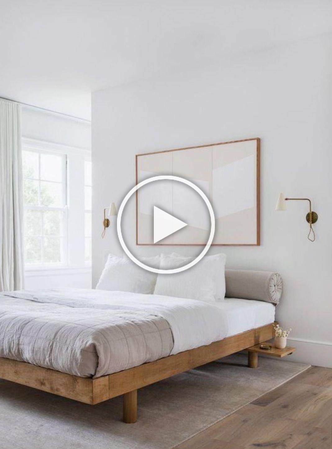 Minimalist Modern Bedroom With Wood Platform Bed Oversized Framed