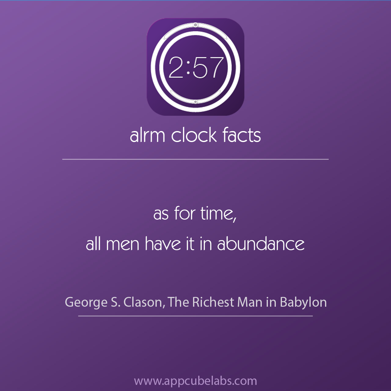"alrm clock facts 6 ""As for time, all men have it in"