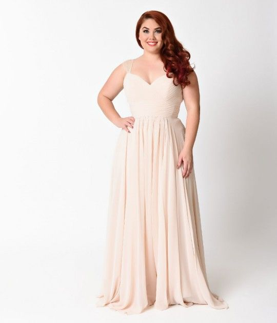 This beautiful champagne plus size dress is modest in fit, y
