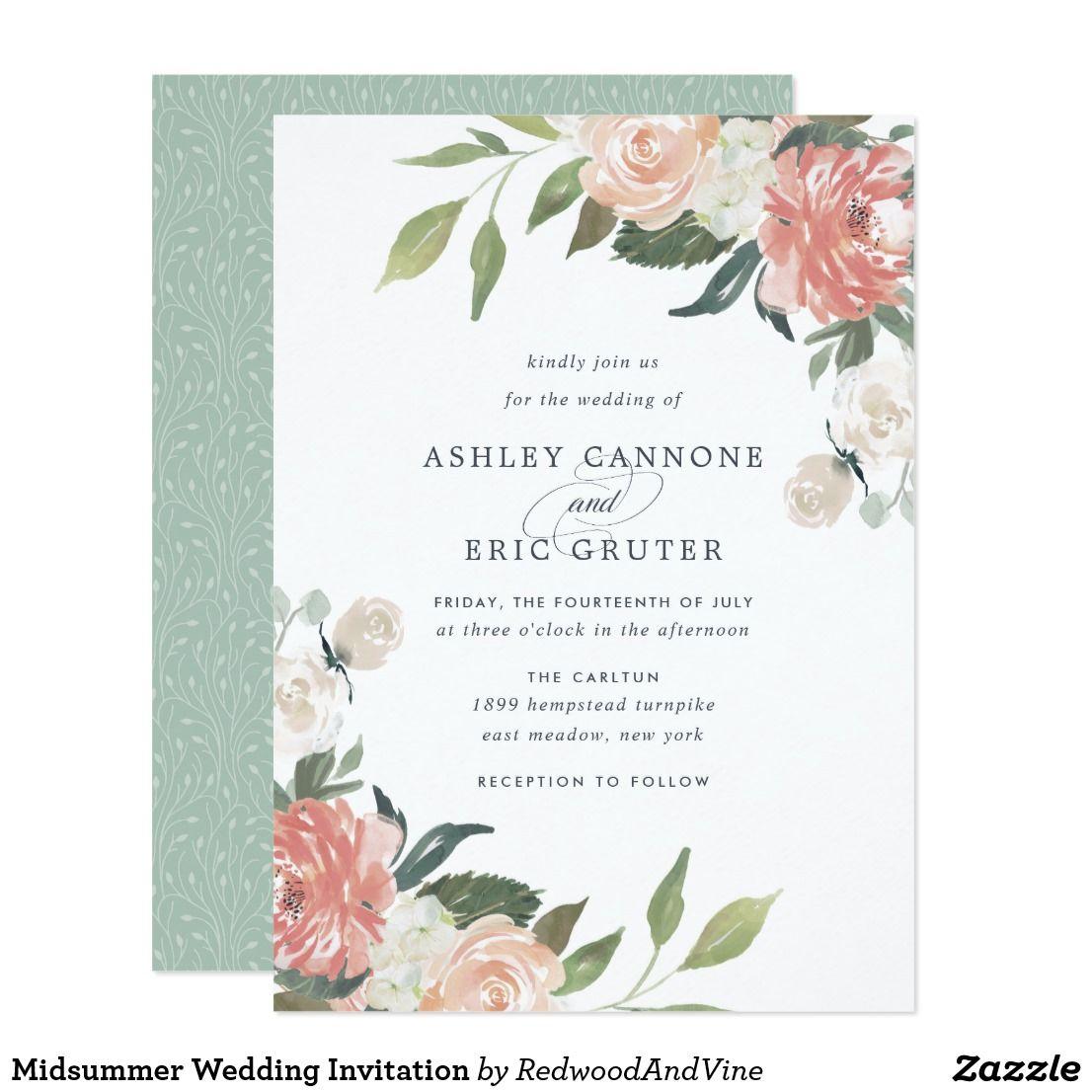 Midsummer Wedding Invitation Zazzle Co Uk Floral Wedding Invitations Wedding Invitations Summer Wedding Invitations