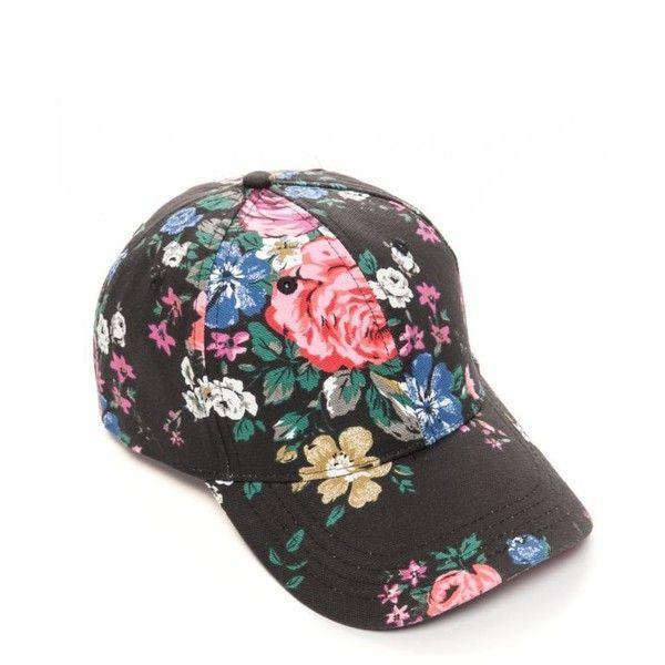 25dcf479a Bcbgeneration Black Floral Baseball Hat ($17) ❤ liked on Polyvore ...