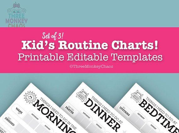 Set of kids routine charts morning dinner bedtime editable pdf threemonkeychaos also rh pinterest