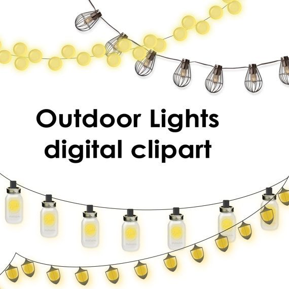 Outdoor Party Lights Clipart: 4 Clipart Lantern Strings Mason Jar Light By