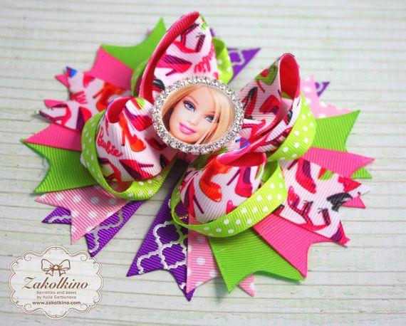 Barbie hair bow  Stacked hair bows  Boutique hair by ZakolkinoCom