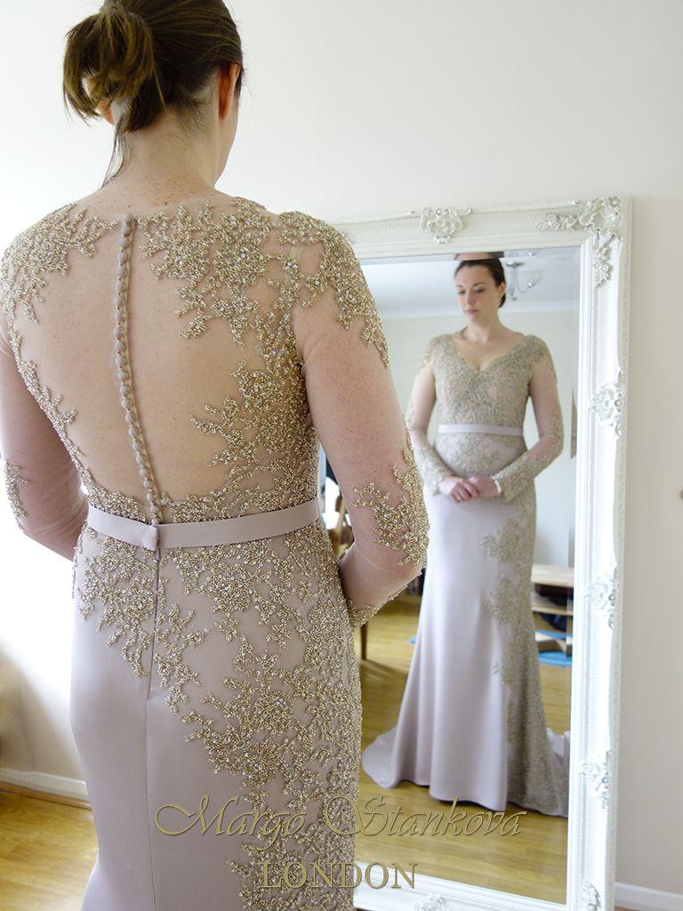 Margo Stankova LONDON custom made blush and gold wedding dress ...