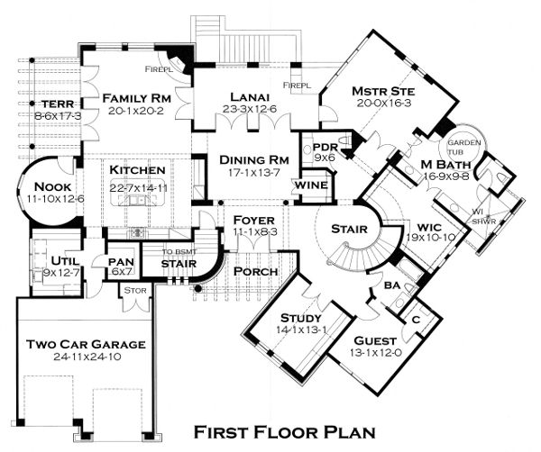First Floor Plan Of Vista Montagna House Plan. I Like The Layout With An  Inside