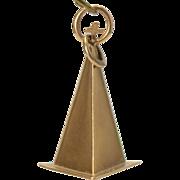 Vintage Church Pyramid & Cross Steeple 18k Gold Charm 18 karat