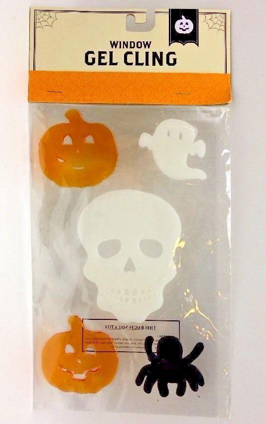 Halloween Clings Skull Ghosts Spider Pumpkins Window Mirror Gel New - halloween window clings