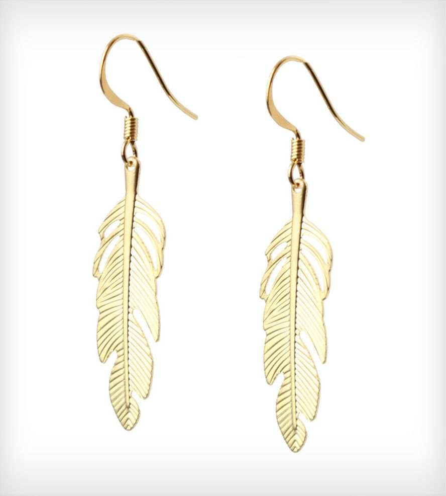Gold Feather Earrings Gold feathers Feathers and Boho