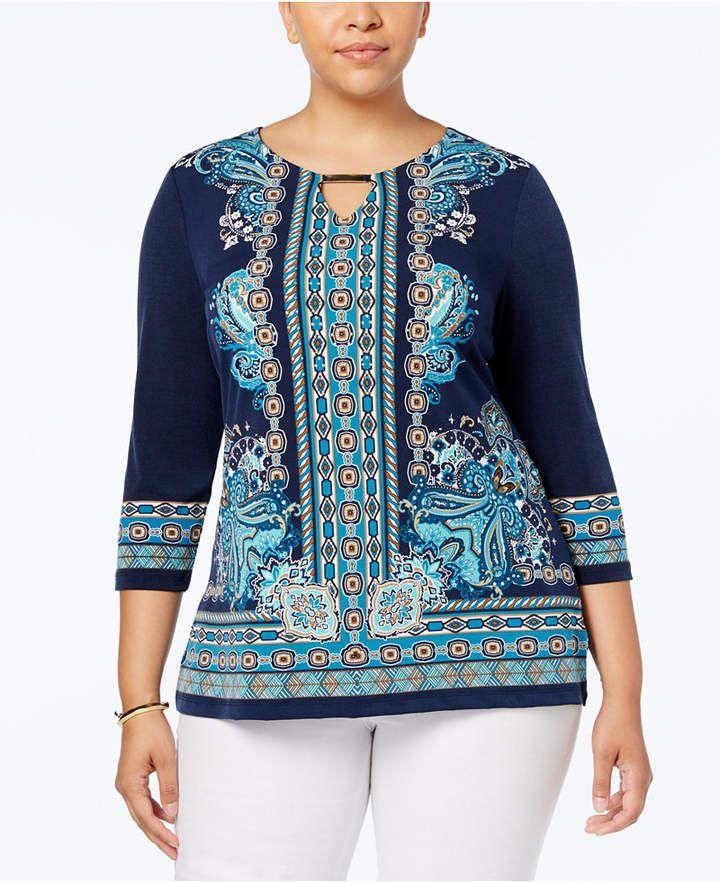 bda899aac34 JM Collection Plus Size Printed Keyhole Top