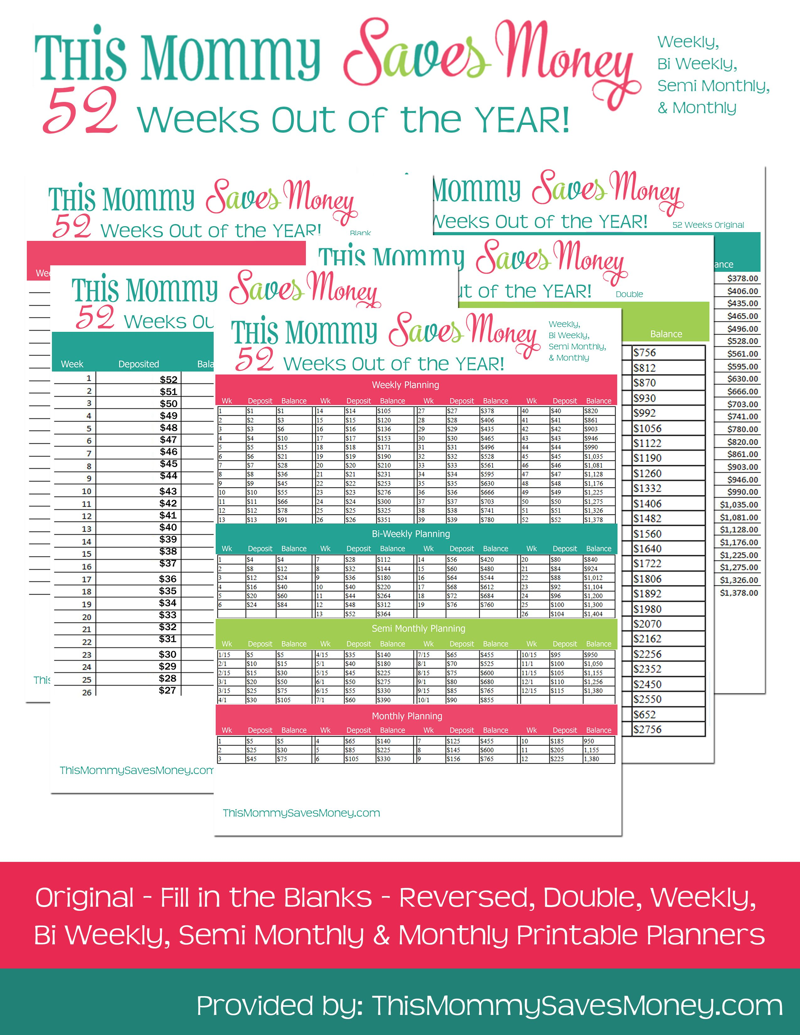 52 Week Money Challenge Free Printables Charts