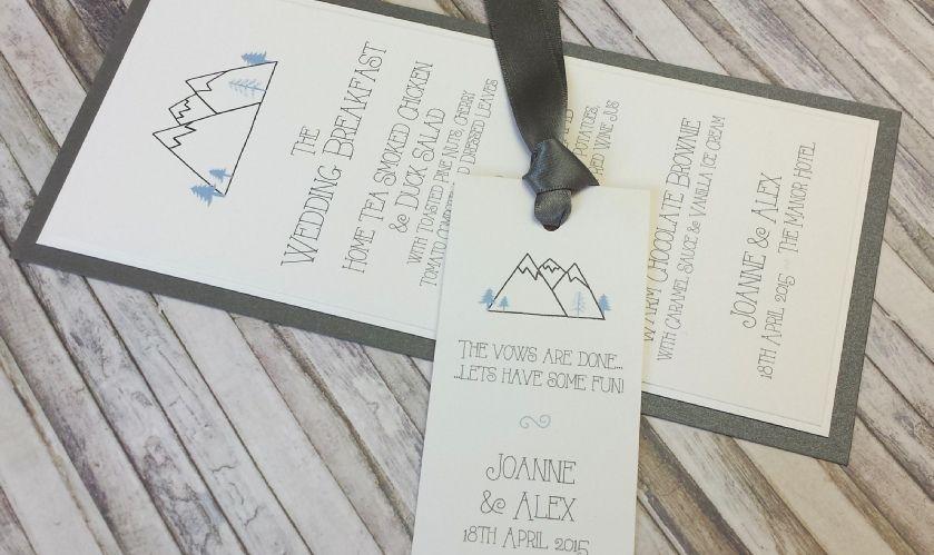 Mountain Wedding Stationery - Hills, Hiking, Ski, Outdoor Wedding