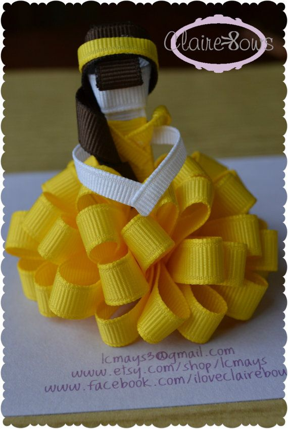 Set of Two Loopy Puff Princesses Belle Rapunzel by ShopClaireBows